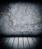 Wood floor and concrete wall textured background Royalty Free Stock Image