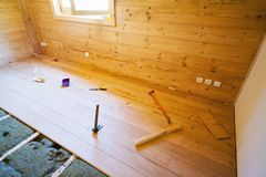 Wood floor construction Stock Photo