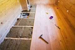 Wood floor construction stock image