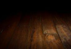 Wood floor in dark room. Royalty Free Stock Photography