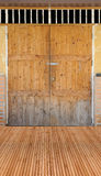 Wood floor and door Stock Images
