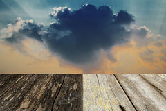 Wood floor with dramatic sky background Stock Photos