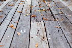 Wood floor with fall leaves Royalty Free Stock Photography