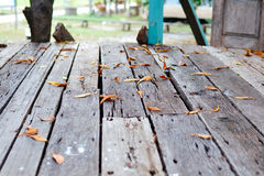Wood floor with fall leaves Royalty Free Stock Photo