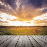 Wood floor and field meadow Royalty Free Stock Photo