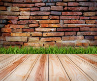 Wood floor and grass with brick texture backgrounds. royalty free stock photo