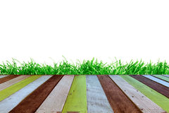 Wood floor with grass on white background Royalty Free Stock Photography