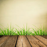 Wood floor with grunge blur background Royalty Free Stock Photo