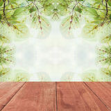 Wood floor on Leaves on the branches in the autumn forest Royalty Free Stock Images