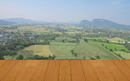 Wood floor and  natural mountain,field with landscape background on sunny day Stock Images