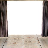 Wood floor and Open curtains. Royalty Free Stock Image