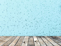 Wood floor with rainy drop on the mirror Stock Image