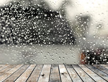 Wood floor with rainy drop on the mirror Royalty Free Stock Image