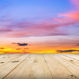 Wood floor and sky sunset Royalty Free Stock Photography