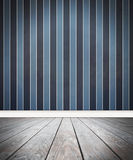 Wood Floor and Stripe Wall Background Stock Image
