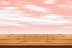 Wood Floor stripes and pink sky background Royalty Free Stock Photography