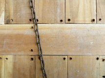 Wood floor surface w/ chain Stock Photo