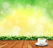 Wood floor and tea cup Royalty Free Stock Photography