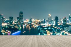 Free Wood Floor Terrace Or Wooden Table With Blur Background Rooftop Perspective View City Night Light Bokeh Royalty Free Stock Photography - 200040887