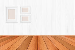 Wood floor textured pattern background in light  brown color tone with empty white wall backdrop: Isolated wooden floor on white Royalty Free Stock Images