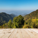 Wood floor and view mountain Royalty Free Stock Image