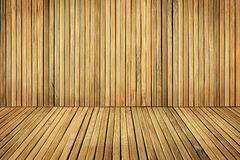 Wood Floor and Wall Planks, Room Boarded By Old Brown Plank stock photo