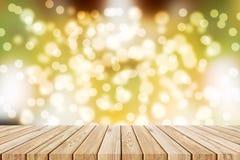 Wood floor on warm light bokeh blackground. Wood floor onabstract warm light bokeh blur blackground Royalty Free Stock Images