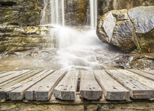 Wood floor with water fall Royalty Free Stock Photo