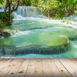 Wood floor and Waterfall in rain forest Royalty Free Stock Photography