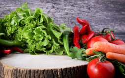 Wood floor and wood background vegetables. Vegetables Food Concept and Decoration Royalty Free Stock Photo