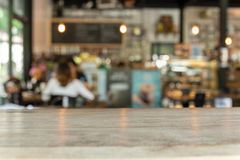 Wood flooring with blur background in coffee shop. stock photo