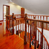 Wood flooring and railing Royalty Free Stock Images