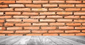 Wood floors and brick walls are suitable for use as exotic background images. Empty rooms, old wooden floors, blue walls for use as a background image stock photography