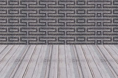 Wood floors perspective cement wall background Royalty Free Stock Image