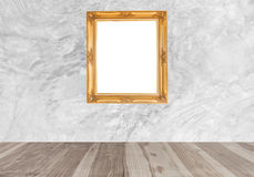 Wood floors and white modern concrete wall Stock Image