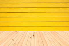Wood floors and wood wall surface yellow background. Stock Photography