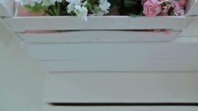 Wood flower box, decor  in photographic studio stock footage