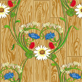 Wood&flowers Royalty Free Stock Image