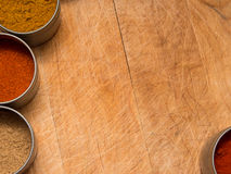 Wood background with spices Stock Photos