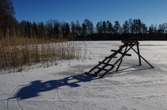 Wood footbridge. Royalty Free Stock Images