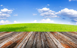 Wood foregroung and landscape of green field under blue sky and Stock Photos