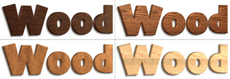 Wood. Four `Wood` words illustrated using wooden material Stock Photos
