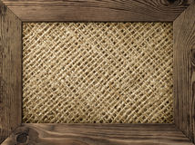 Wood Frame. Old wood frame with burlap material inside royalty free stock photo