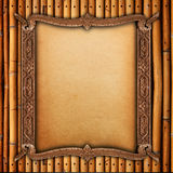 Wood frame on bamboo walls stock images