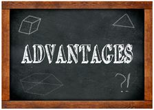 Wood frame blackboard with ADVANTAGES text written with chalk. Illustration Stock Image