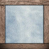 Wood frame with blue paper Stock Photos