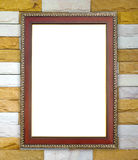 Wood frame on brick stone wall Royalty Free Stock Images