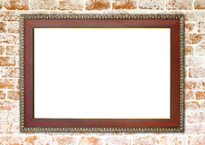 Wood frame on brick stone wall Stock Images