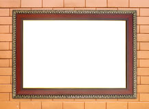 Wood frame on brick stone wall Royalty Free Stock Photo
