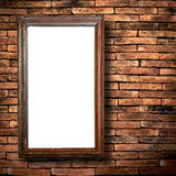 Wood frame brick wall Stock Images
